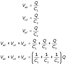 capacitors in series - equation #1