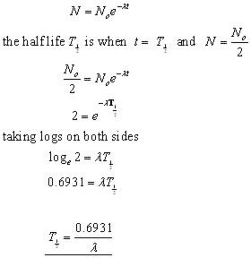 HALF LIFE,derivation of equations in nuclear physics from A-level ...