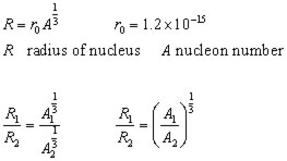 radii of nucleus