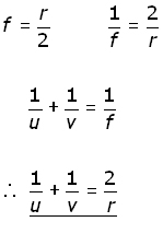 concave mirror formula derivation
