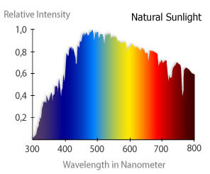 variation of intensity of sunlight with wavelength - image courtesy of Reef Keeping Fever